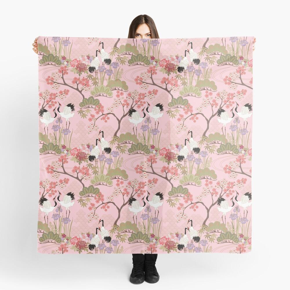 Japanese Garden in Pink Scarf