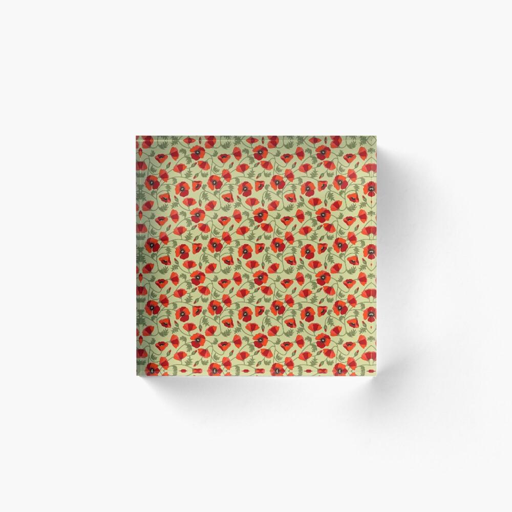 Poppies Red Acrylic Block