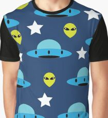 Alien and UFO Blue  Graphic T-Shirt