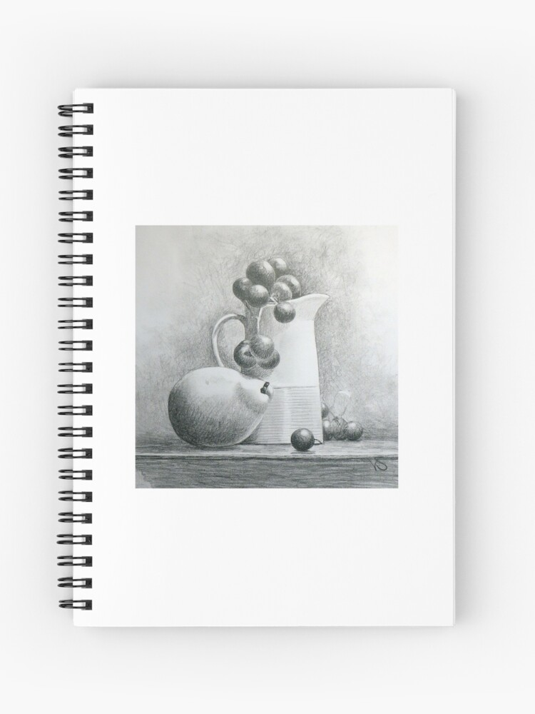 still life with pear grapes pencil drawing spiral notebook by vickisyme redbubble