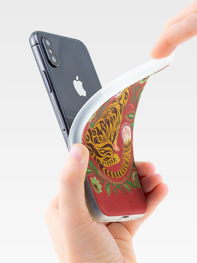 Alternate view of Tiger Folk Art iPhone Case & Cover