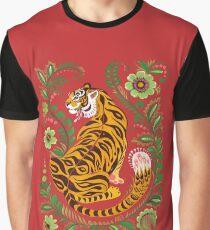 Camiseta gráfica Tiger Folk Art