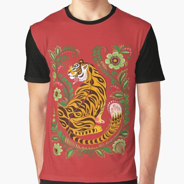 Tiger Folk Art Graphic T-Shirt