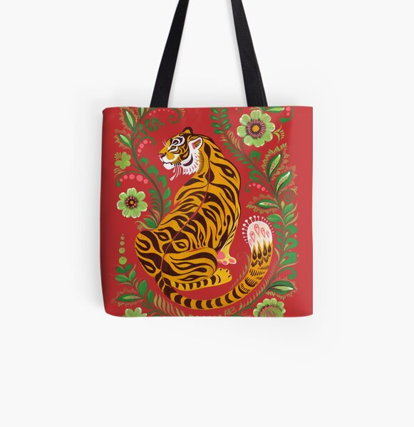 Tiger Folk Art All Over Print Tote Bag