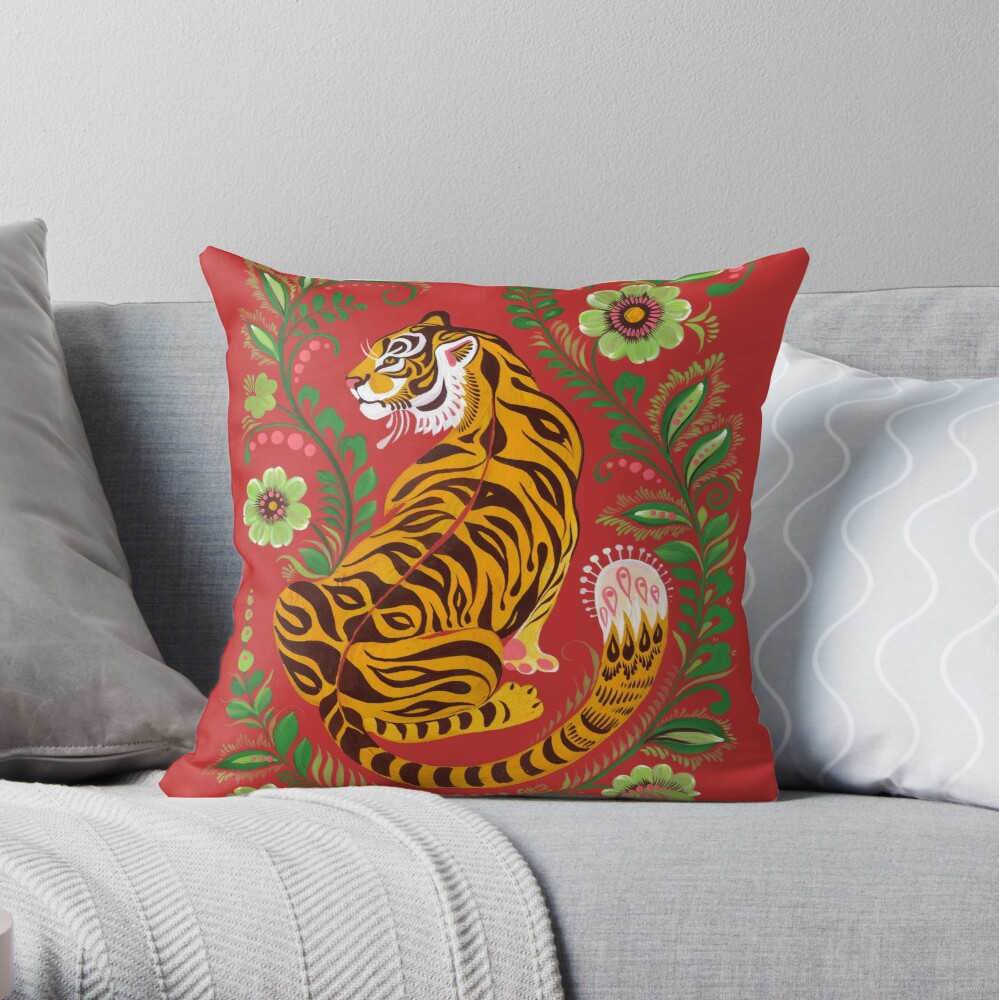 Tiger Folk Art Throw Pillow