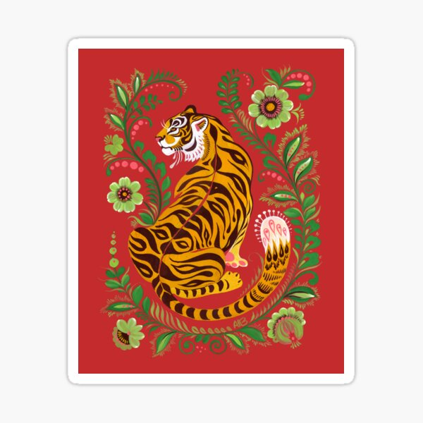 Tiger Folk Art Sticker