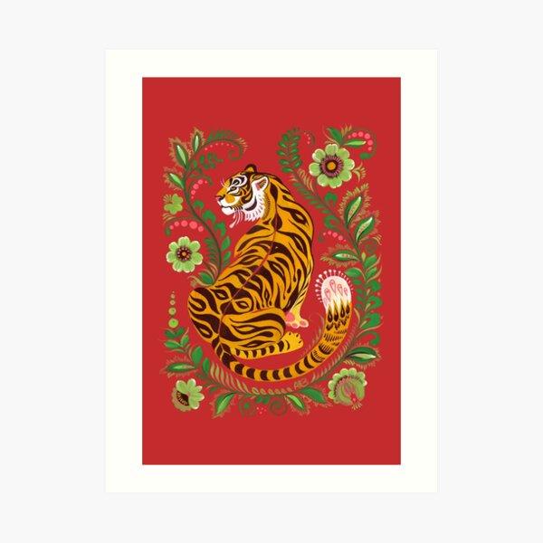 Tiger Folk Art Art Print