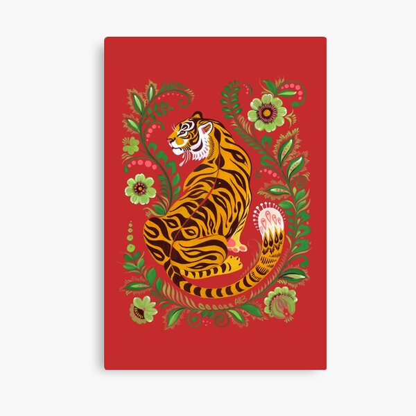 Tiger Folk Art Canvas Print