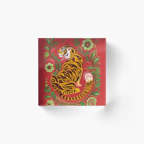 Tiger Folk Art Acrylic Block