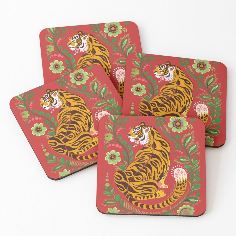 Tiger Folk Art Coasters (Set of 4)