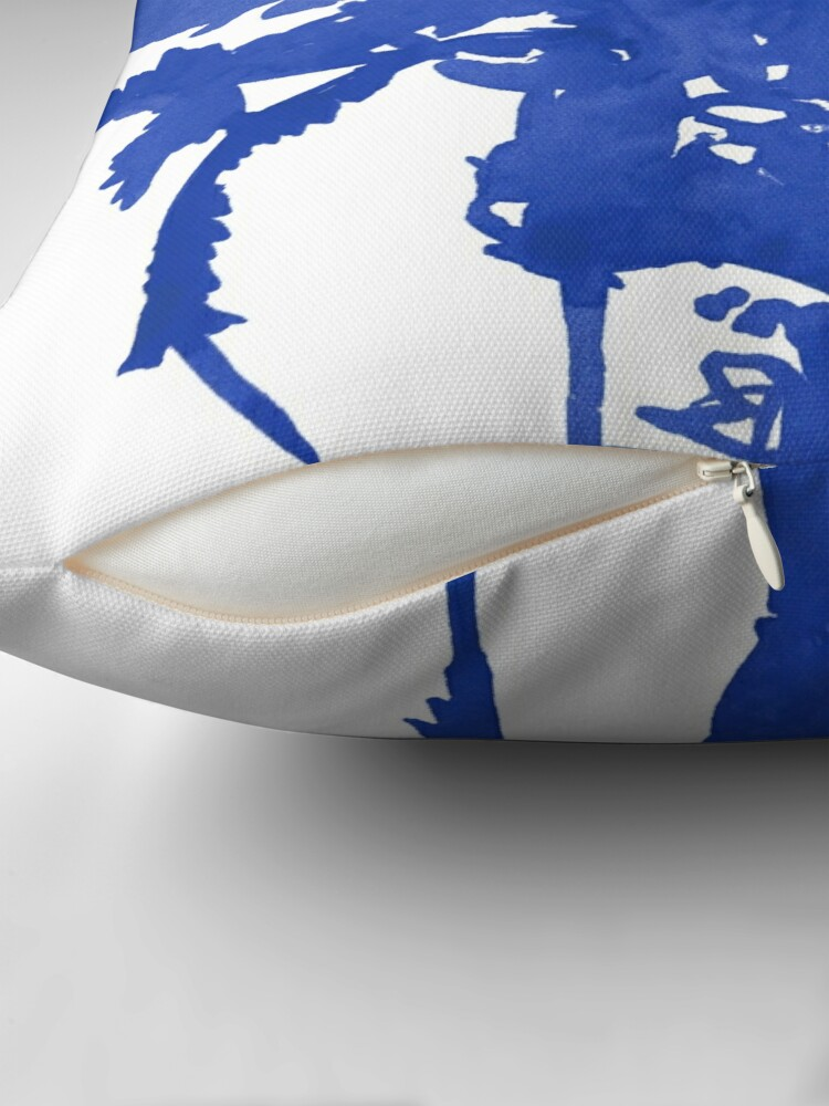 Alternate view of Stand Tall Blue Palm Tree Throw Pillow