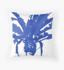 Stand Tall Blue Palm Tree Throw Pillow