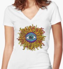 Psychedelic Sunflower - Just the flower Fitted V-Neck T-Shirt