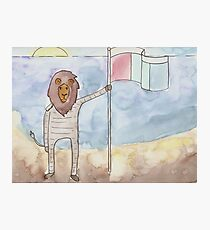 Lion Astronaut on Beach with Flag Photographic Print