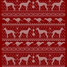 Ugly Christmas sweater dog edition - Greyhound/Whippet/Italian Greyhound red by Camilla Mikaela Häggblom