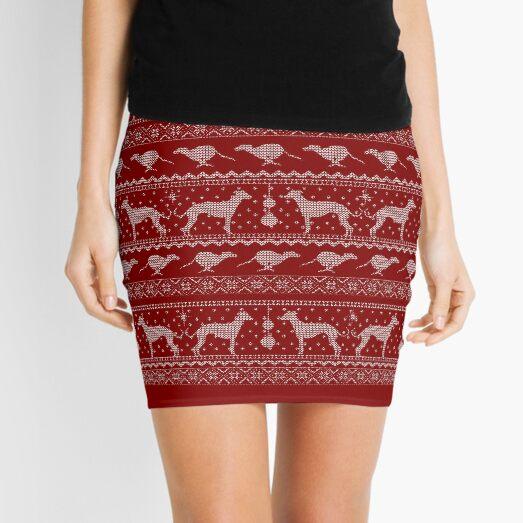 Ugly Christmas sweater dog edition - Greyhound/Whippet/Italian Greyhound red Mini Skirt