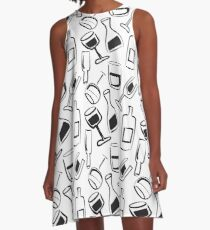 Wine Lovers - Wine Glasses and Wine Bottles A-Line Dress