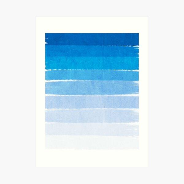 Blue Ombre Brushstroke - Summer, Beach, Ocean, Water, LA Cute trendy, painterly art Art Print