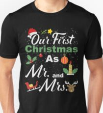 Couple Wife Husband Our First Christmas As Mr & Mrs T-Shirt T-Shirt