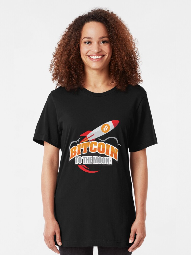 Alternate view of Bitcoin to the Moon Slim Fit T-Shirt