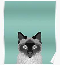 Ezra - Siamese Cat, Cute Kitten Retro Cat Art cell phone case, siamese, cute cat Poster