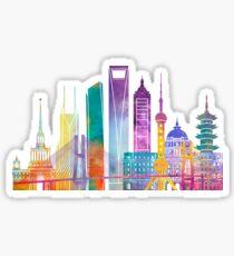 Shanghai landmarks watercolor poster Sticker