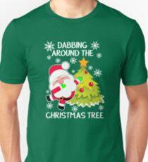 Dabbing Around The Christmas Tree Funny Christmas Gift Shirt Slim Fit T-Shirt