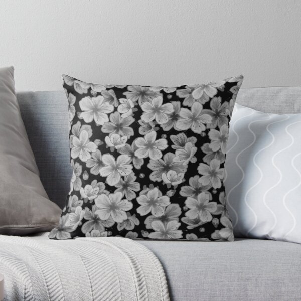 Beautiful Flower Illustration in Greyscale Throw Pillow