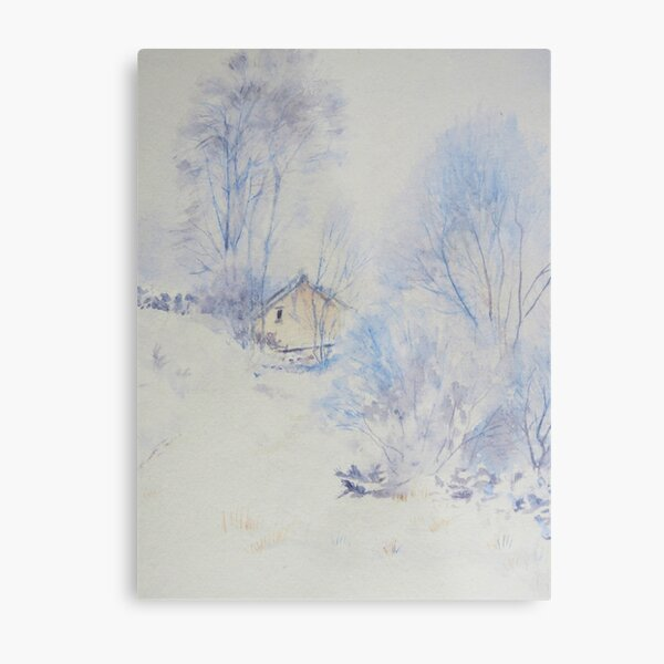 Cottage in the snow Metal Print