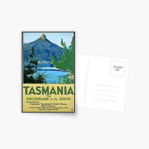 Vintage Tasmania Travel Poster Postcard