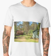 houses surrounded by pine trees Men's Premium T-Shirt