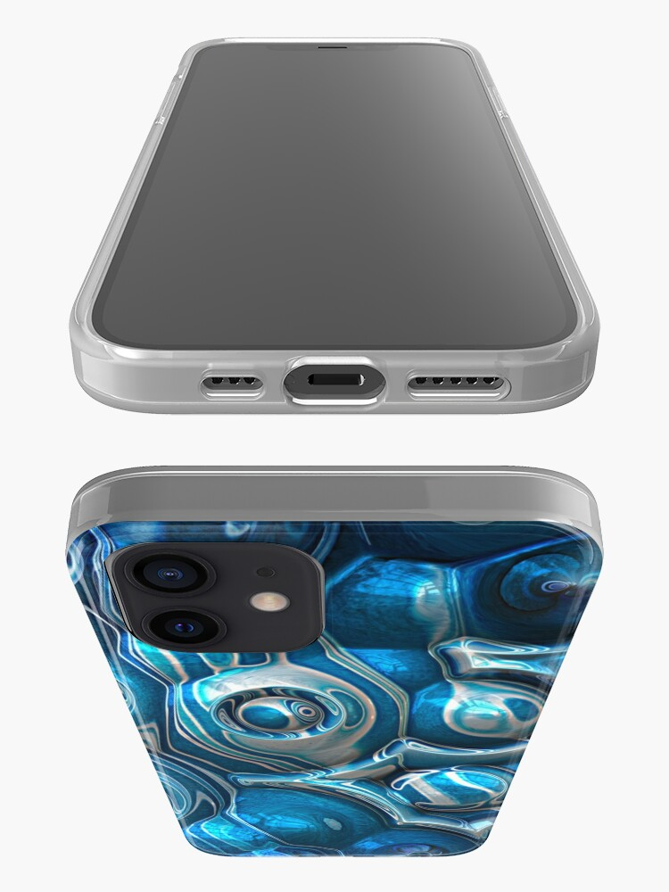Alternate view of Macro 3D Blue Reflections iPhone Case & Cover