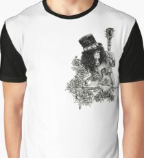 Classic Rock and Roll Top Hat Skeleton Guitarist  Graphic T-Shirt