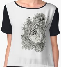Classic Rock and Roll Music Skeleton Drummer Women's Chiffon Top