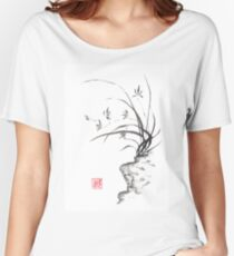 Dancing on the edge sumi-e painting  Women's Relaxed Fit T-Shirt