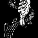 Retro Mikrofon mit Notenblatt. Musik. von Christine Krahl