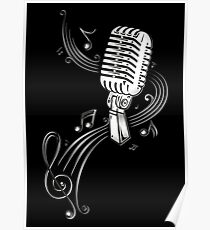 Retro microphone with music notes and clef. Poster