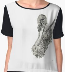Classic Rock and Roll Music Skeleton Bass Guitarist Women's Chiffon Top