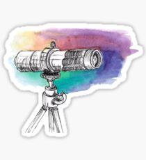 Watercolor spyglass on a rainbow background Sticker