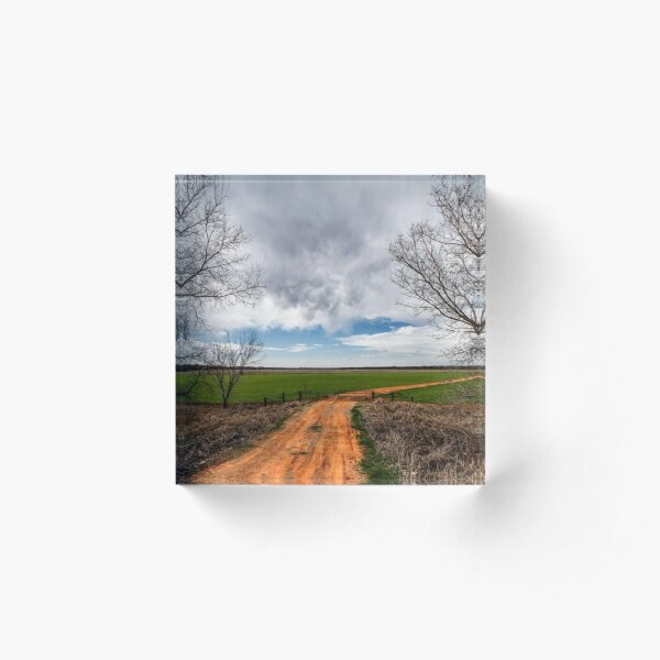 Take Me Home - Old Dirt Road in Oklahoma Acrylic Block