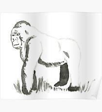 Sumi-e Gorilla Large Print Poster