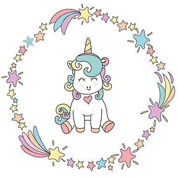 Pink Cute Magical Baby Unicorn by cutecutedesigns