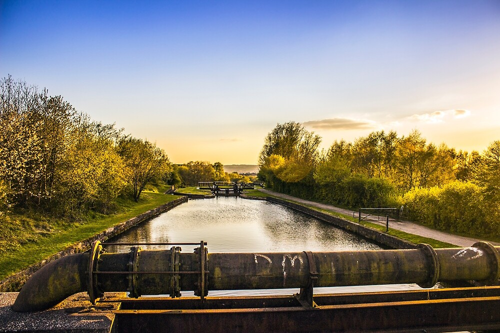 Wigan locks at sunset by Paul Madden