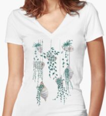 Hanging plants in seashells  Women's Fitted V-Neck T-Shirt