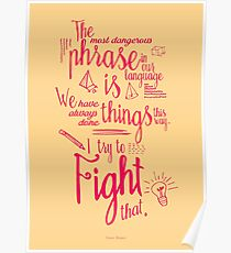 Kämpfen Sie das !, Grace Hopper Satz für Geist-ändernden, Geist Offenheit, Inspiration, Motivation, Giclée, handgeschrieben, Kalligraphie, Tafel Poster