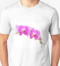 Pink Orchid Flowers Isolated on White T-Shirt