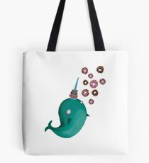 Cute Narwhal and Donuts Tote Bag