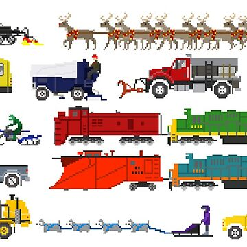 Winter Vehicles - The Kids' Picture Show - Pixel Art by KidsPictureShow