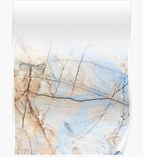 Cotton Latte Marble - Ombre blue and ivory Poster