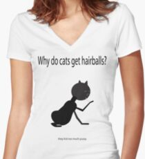 Why do cats get hairballs? Women's Fitted V-Neck T-Shirt